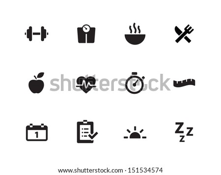 Fitness icons on white background. See also vector version. - stock photo