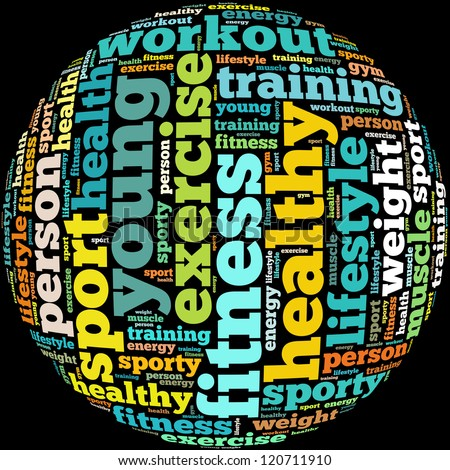 Fitness info-text graphics and arrangement concept on white background (word cloud) - stock photo