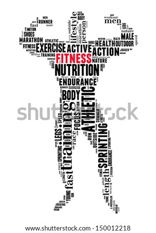 Fitness info-text graphics and arrangement concept (word cloud)