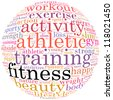 Fitness info-text graphics and arrangement concept (word cloud) in white background - stock photo