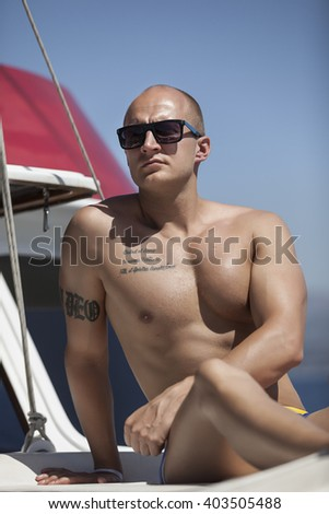Fitness instructor at the yacht