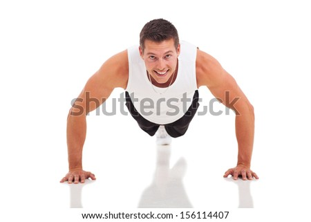 fitness man doing push ups over white background