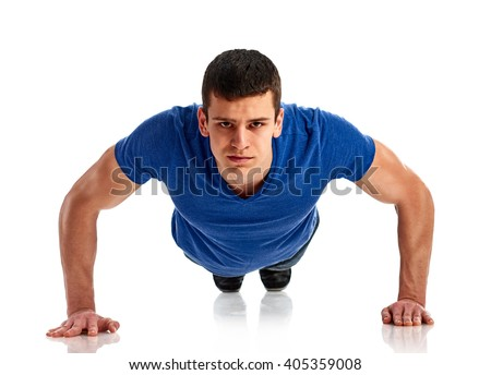 fitness man exercising push ups - stock photo