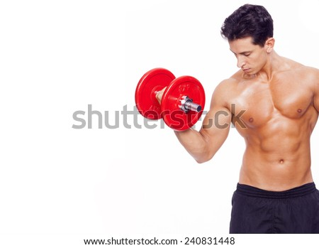 Fitness man lifting dumbbells on a white background - stock photo