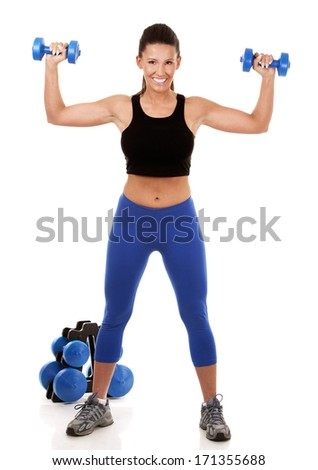 fitness model brunette wearing blue outfit on white isolated background
