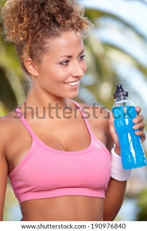 Fitness Model . Spring outdoor training  - stock photo