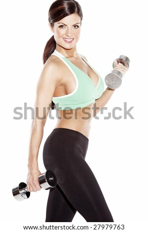 Fitness Model with Dumbbells - stock photo