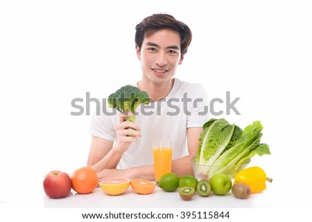 Fitness Model with Fruits and Vegetables- - stock photo