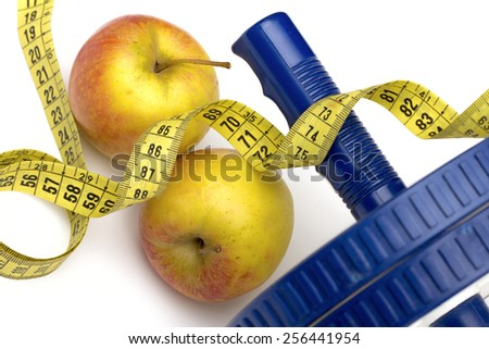 fitness on the white background - stock photo