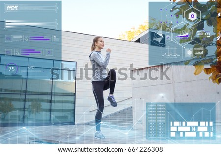 fitness, sport and people concept - happy woman exercising outdoors
