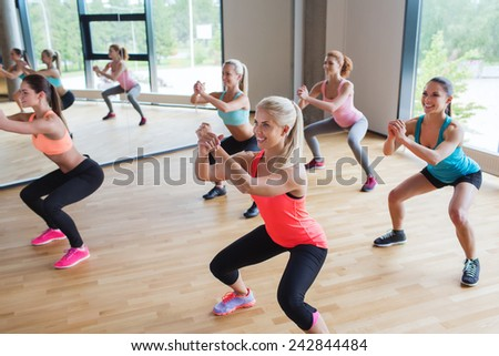 fitness, sport, training, people and lifestyle concept - group of women making squats in gym - stock photo