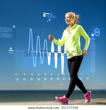 fitness, sport, training, technology and lifestyle concept - woman doing sports outdoors with earphones - stock photo