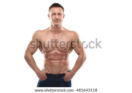 Fitness strength training workout bodybuilding concept background - muscular bodybuilder handsome man on white background