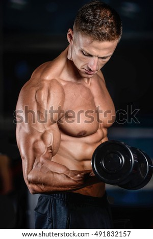 Fitness strength training workout bodybuilding concept background - muscular bodybuilder man doing exercises in gym