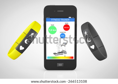 Fitness Trackers with Mobile Phone on a white background - stock photo
