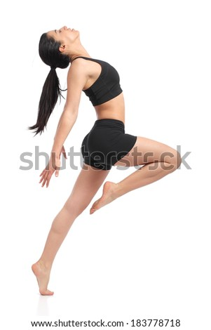 Fitness woman dancing doing aerobic exercises isolated on a white background                   - stock photo