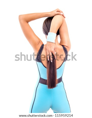Fitness woman doing exercise, isolated on white - stock photo