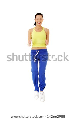 Fitness woman doing exercise , isolated on white background - stock photo