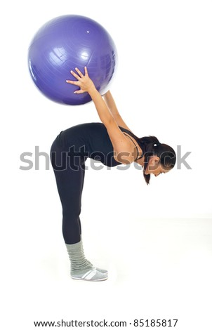 Fitness woman doing exercise with ball isolated on white background