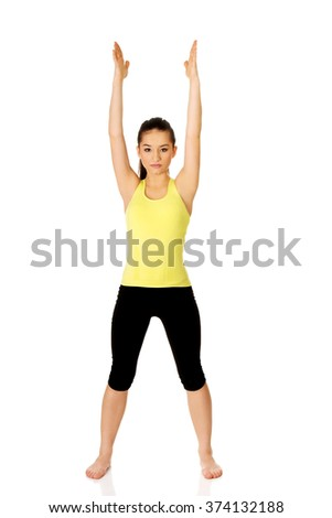 Fitness woman doing fitness exercise. - stock photo