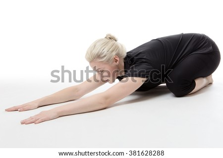 fitness woman doing floor stretching and exercises