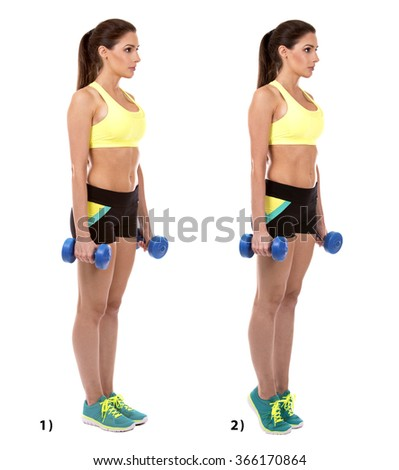 fitness woman doing standing calf raise on white background - stock photo
