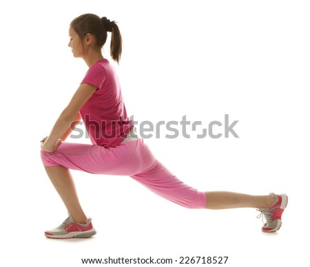 Fitness woman doing stretching exercise isolated