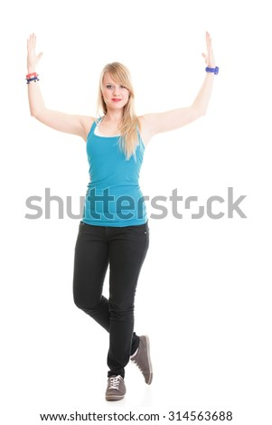 fitness woman exercising dance aerobics in full length isolated on white background. - stock photo