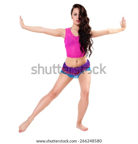 Fitness woman exercising dance class aerobics in full length isolated on white background. Caucasian female model. - stock photo