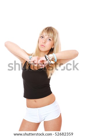 Fitness woman exercising over white background