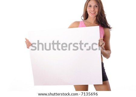 Fitness woman holding blank sign