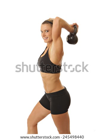 Fitness woman on white - stock photo