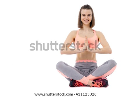 Fitness woman pilates yoga isolated