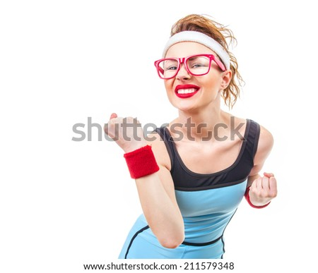 Fitness woman ready for gym, funny sport girl over white background - stock photo