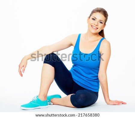fitness woman resting between exercises. white background isolated studio portrait. - stock photo