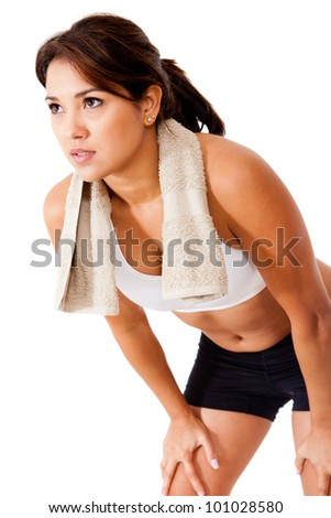 Fitness woman retsing - isolated over a white background