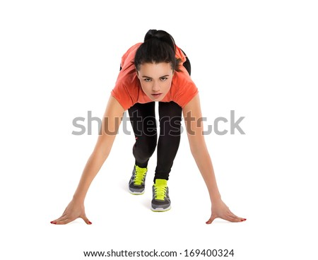 Fitness woman start running - stock photo