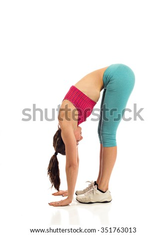 Fitness woman stretching with yoga