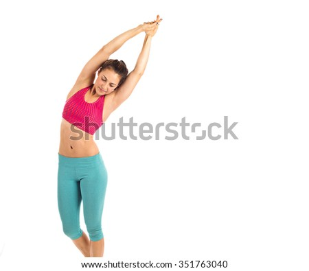 Fitness woman stretching with yoga - stock photo