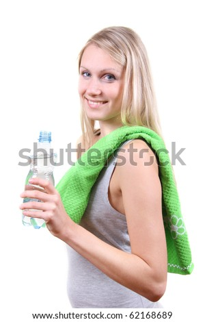 fitness woman with water bottle in hands