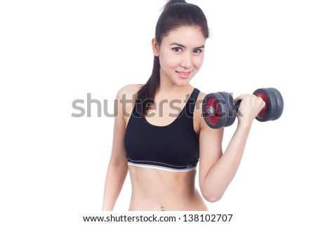 Fitness woman working out with free weights,dumbbell.