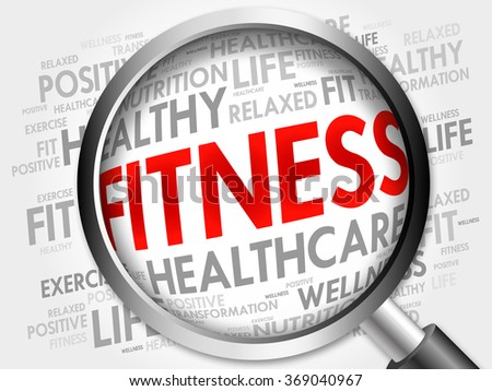 FITNESS word cloud with magnifying glass, health concept