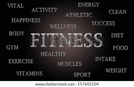 Fitness word cloud written in luxurious chrome lettets - stock photo