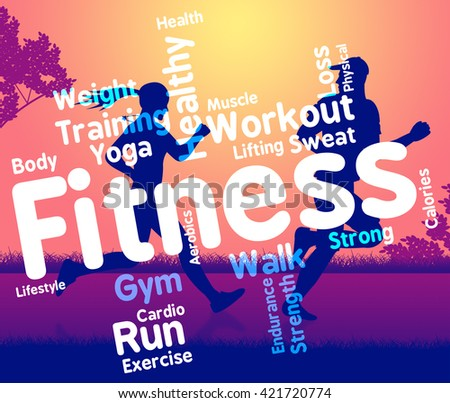 Fitness Words Showing Working Out And Text