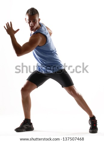 Fitness young man training and doing aerobic exercise. - stock photo