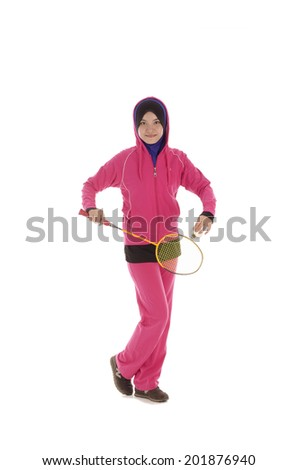 Fitness, young muslimah, sport woman playing badminton on playground for leisure time activities - stock photo