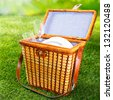 Fitted wicker picnic basket or hamper standing on fresh lush green grass with the lid open displaying a pretty blue and white checked lining with plates and glasses - stock photo