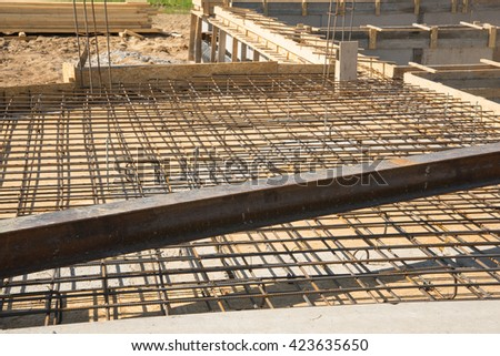 Fitting construction of building house with metallic beam