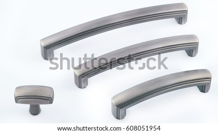 Retro Handles Metal Cabinet In The Kitchen. Fittings For Furniture. Handles  For Cabinets On A White Background