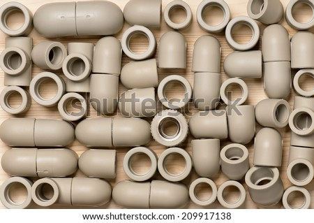 Fittings for plastic pipes - stock photo